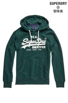 Superdry Besticktes Kapuzensweatshirt, grün