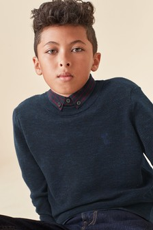 Фактурный джемпер с воротником-обманкой  (3-16 лет)