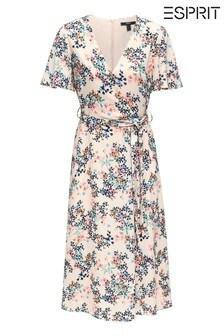 Esprit Fließendes, ausgestelltes Kleid aus Krepp mit Blumenmuster, V-Ausschnitt und kurzen Ärmeln, Pink