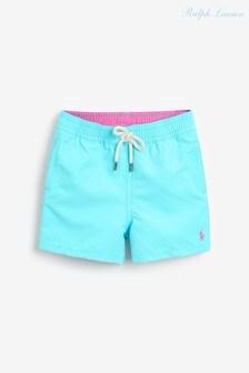 Сине-зеленые пляжные шорты с логотипом Ralph Lauren