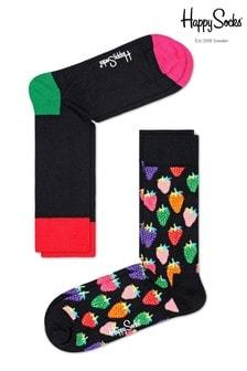 Pack de dos pares de calcetines con diseño de fresas de Happy Socks