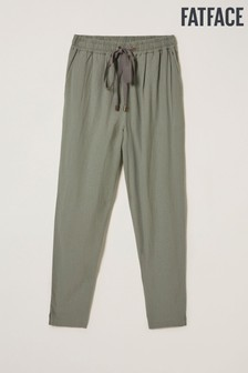 FatFace Green Perth Linen Blend Tapered Trousers