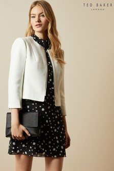 Ted Baker Cream Eliaana Curved Hem Cropped Jacket