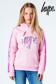 Hype. Pink Metallic Leopard Panel Hoody