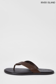River Island Brown Dark Leather Flip Flops