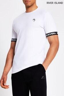River Island Maison T-Shirt mit Sportstreifen, Weiß