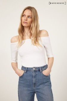 Warehouse White Short Sleeve Bardot Top