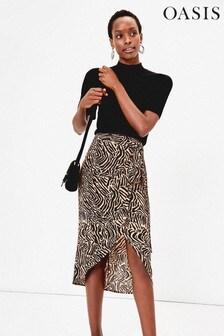Oasis Natural Animal Wrap Midi Skirt