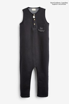 Turtledove London Black Organic Cotton Be Happy Tank Dungarees