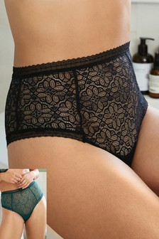 Geo Lace High Waisted Knickers Two Pack