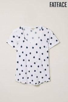 חולצת טי מפשתן עם נקודות של FatFace דגם Lucy Shibori בבז'
