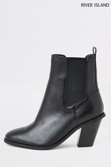 River Island Black Harry Western Hig Boots