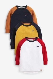 Lot de 3 t-shirts en suédine à manches raglan (3 mois - 7 ans)