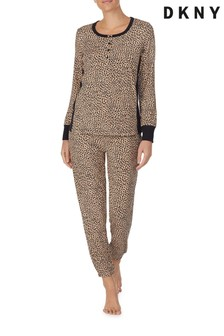 DKNY Animal Long Sleeve Top And Jogger Sleep Set