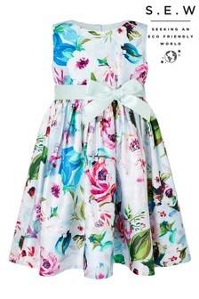 שמלה לתינוקת של Monsoon מקולקצייתS.E.W דגם Heidi בהדפס פרחוני צבעוני