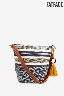 FatFace Blue Tia Woven Pom Cross Body Bag
