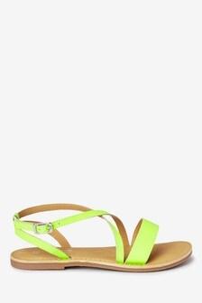 Leather Cross Strap Sandals (Older)
