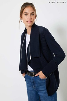 Mint Velvet Navy Biker Waterfall Cardigan