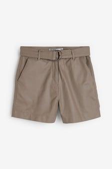 Джинсовые шорты с покрытием и поясом