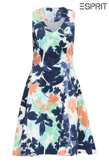 Esprit Natural Printed Flared Flower Dress With V-Neck Without Sleeves