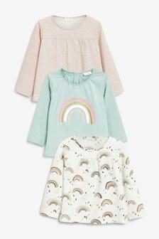 מארז 3 חולצות טי עם שרוול ארוך בדוגמת קשת בענן (0 חודשים עד גיל 2)