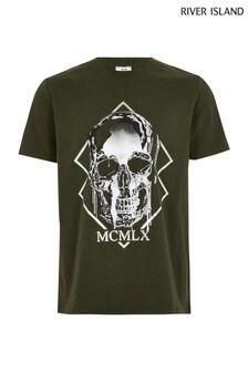 Kaki tričko s metalickou lebkou River Island