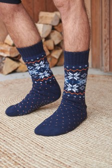 Fairisle Pattern Borg Lined Slipper Socks