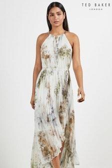 Ted Baker White Pettraa Vanilla Dip Hem Pleated Dress