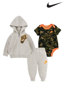 Nike Baby Grey Camo 3 Piece Tracksuit and Vest Set