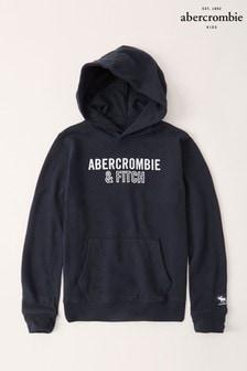 Abercrombie & Fitch Hoodie mit Logo, marineblau