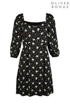 فستان متوسط الطول Sundaze مطبوع مشجر أسود من Oliver Bonas
