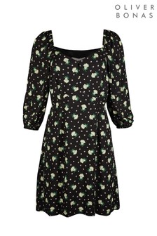Oliver Bonas Black Sundaze Floral Print Mini Dress