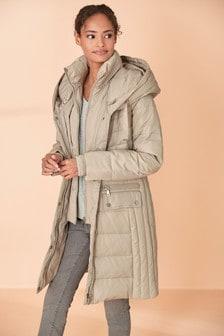 Dlouhý prošívaný kabáts dvojitou vrstvou