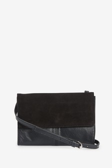 Leather Suede Mix Across Body Bag