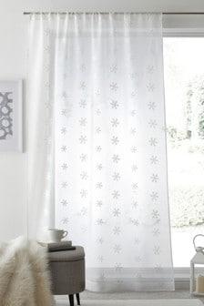 Белая одинарная штора из вуали с карманом для карниза и вышивкой снежинок