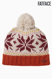 FatFace Orange Snowflake Beanie