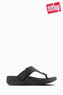 FitFlop™ Black Trakk II Men's Leather Toe-Post Sandals