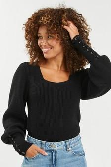 Pullover mit geschnürten Bündchen
