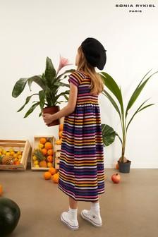שמלה עם פסים צבעוניים של Sonia Rykiel Paris בשחור