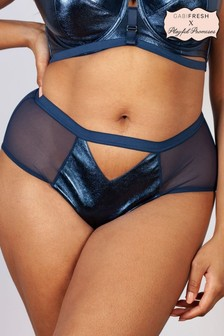 Kayla Gabi Blue Fresh Metallic Leatherette HW Briefs