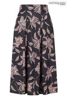 HotSquash Black Knee Length Box Pleat Jersey Skirt