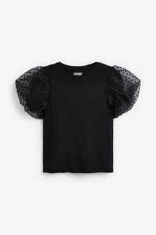Party Spot Mesh Sleeve Top (3-16yrs)
