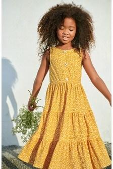 Ярусное платье макси из жатой ткани (3-16 лет)
