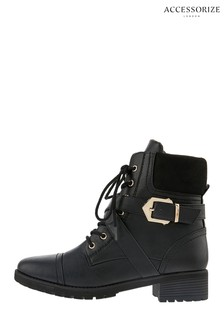 Accessorize Black Metal Detail Biker Boots