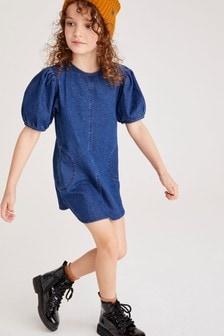 Платье с пышным рукавом (3-16 лет)