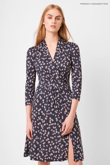 French Connection Blue Eloise Meadow V-Neck Wrap Dress