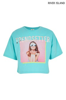 Tyrkisové dievčenské tričko s fotopotlačou River Island