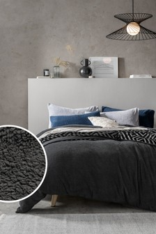 Charcoal Grey Teddy Fleece Duvet Cover and Pillowcase Set