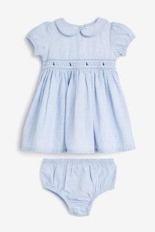 שמלה עם רקמת סירה ותחתונים תואמים (0 חודשים עד גיל 2)