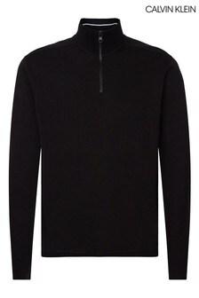 Calvin Klein ブラック ジップモックネック スウェットシャツ